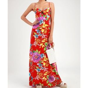 Lulu's Santiago Red Floral Maxi Dress